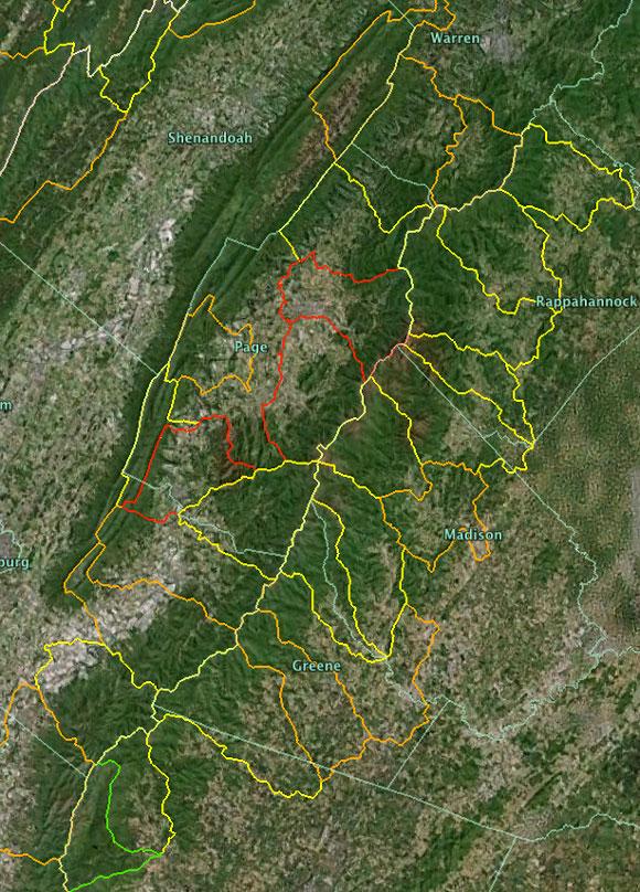 Shenandoah Nat'l Park as seen in Google Earth